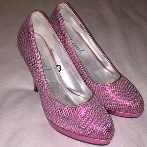 WET SEAL Metallic Pink Sequin Pumps Size 8
